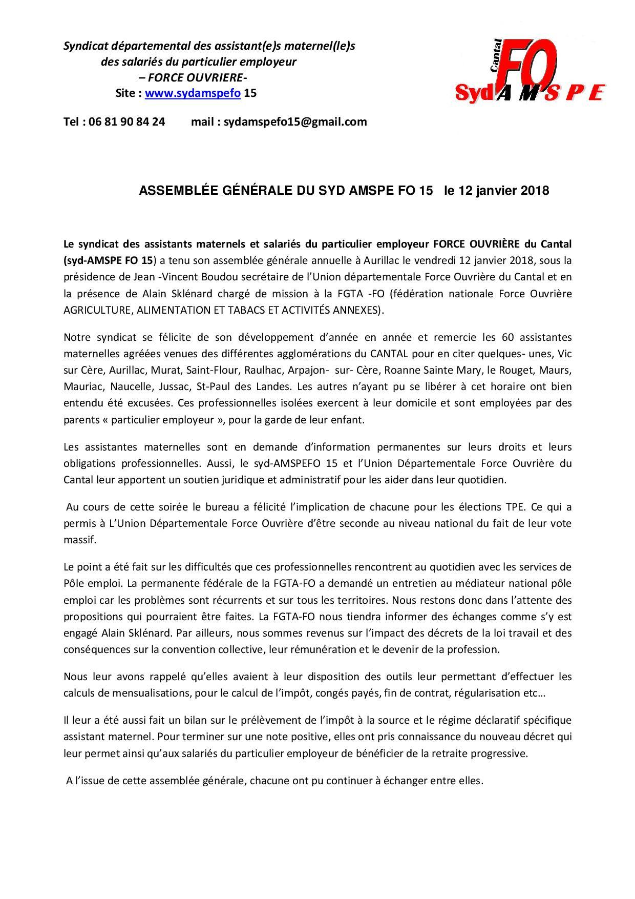 Syndicat Des Assistants Maternels Et Spe Fo Du Cantal Union
