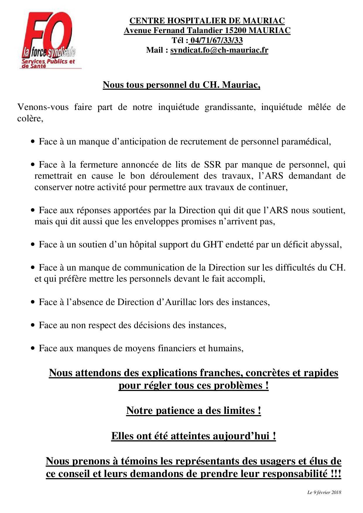 a31aaffe739 Nous avons informé les agents du CH. et décidé d investir le Conseil de  Surveillance du 8 février